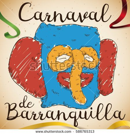 Poster with hand drawn design of colorful marimonda (traditional costume) head over a scroll and ribbons for Barranquilla's Carnival (written in Spanish) celebration.