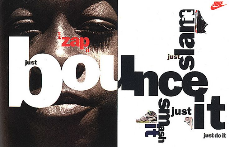 Neville Brody's work for Nike. Working for big name companies will have helped increase Neville's popularity with society.