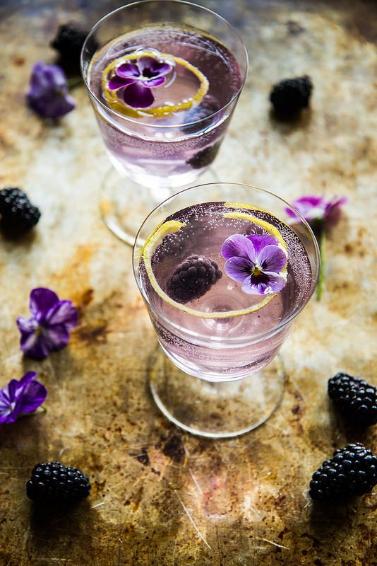 This Blackberry French 75 will taste great with our Striped Gin- soaked in lavender and orange peel.