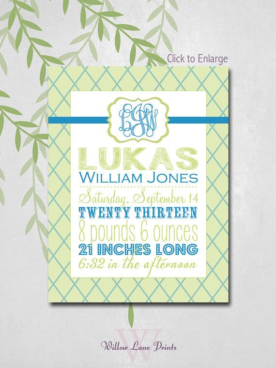 Baby Boy Gift Chevron Birth Stats Wall Art, You choose your custom colors! by WillowLanePrints