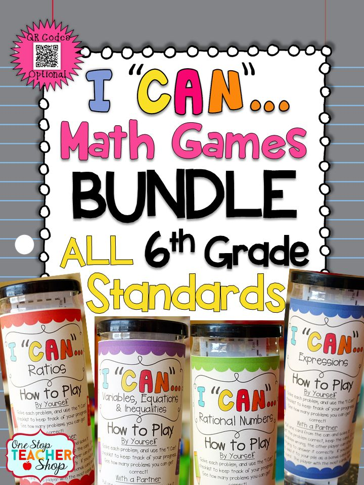 A Complete Bundle of 6th Grade math games! Covers ALL Common Core Standards of Sixth Grade MATH! Perfect for Independent, Small Group, or Whole Group work. With QR codes! Paid