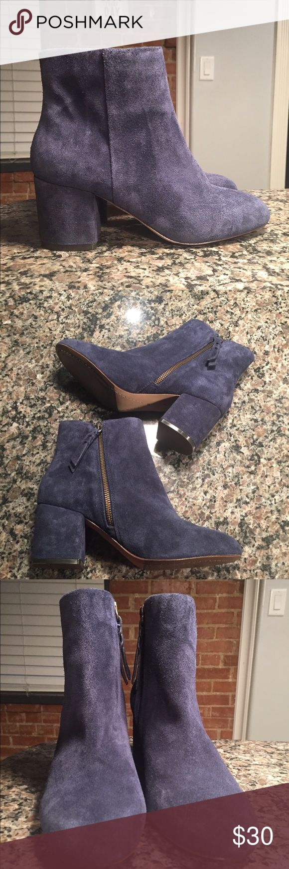 ✨Cute blue suede booties✨ Super cute blue Suede Booties for sale Never used (see bottom of shoe pic) The brand is called Splendid sold at Nordstrom  Size shoe is 7 Fits true to size (I am a 7.5 and it didn't fit me) Open to offers  Thanks for the shares and love 💕 Splendid Shoes Ankle Boots & Booties