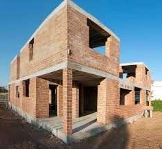 A modern example of load bearing masonry construction for a residential building. Note the absence of concrete columns and beams.