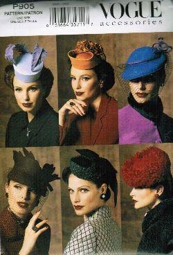 Vogue P905- 1940s fashion hats pattern