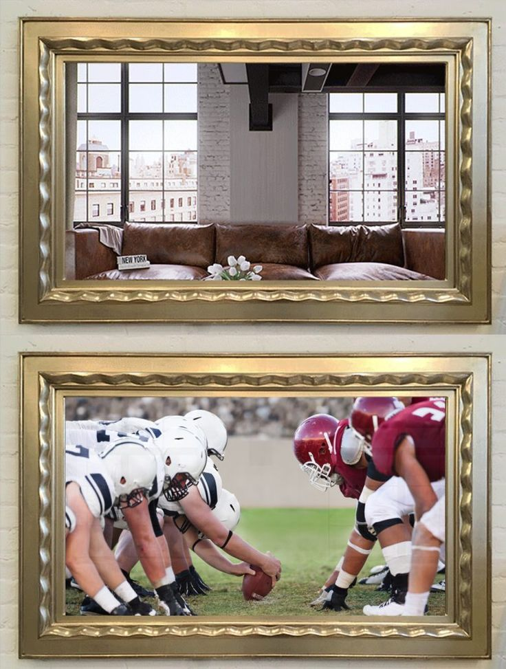 Hang your Flatscreen TV on the wall in a professionally crafted frame made from the finest materials. A mirror when it is off, and TV when it is on.