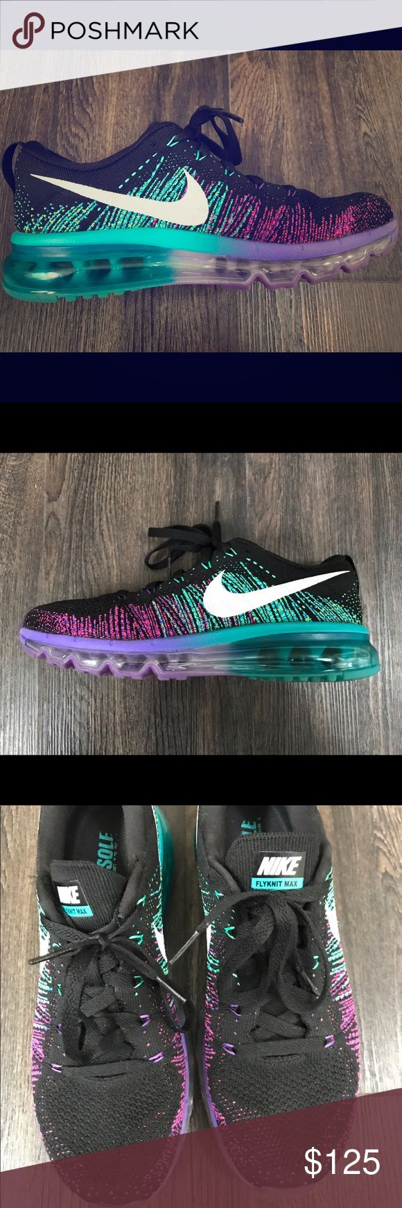 Nike Flyknit Max shoes These shoes are adorable. They are black with bright green, purple and pink accents. They are very cushiony and great for the gym or just to wear around town. I've only worn them a couple of times but received compliments every time. I purchased them for $200 several years ago. You will love them! Nike Shoes Athletic Shoes