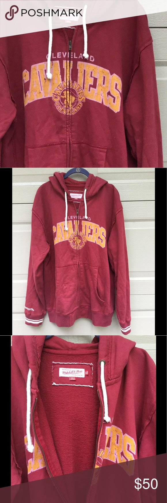 Mitchell & Ness Cleveland Cavs Zip-up Hoodie EUC Cleveland Cavs wine/maroon color with yellow gold screened vintage Cavs logo across the front; Nostalgia Co. Mitchell & Ness Brand, has a vintage look with a worn in feel; only worn once; Size XL Mitchell & Ness Shirts Sweatshirts & Hoodies