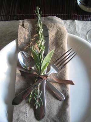 small bunches of twigs as decorations on napkins | ... .com: Easy, Elegant and Eco-Friendly Thanksgiving Décor