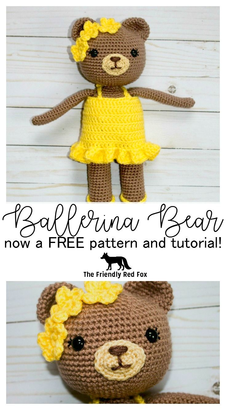 Free crochet pattern for this beautiful Ballerina Bear! This crochet bear is almost 15 inches tall, with a sweet tutu dress, slippers and flower headband! The full pattern and tutorial for this amigurumi bear make it perfect for beginners!