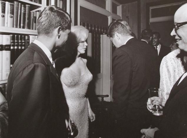 The sexy 1962 birthday serenade by Marilyn Monroe, second from left, to President John F. Kennedy, center, was the last straw for Jacqueline Kennedy.