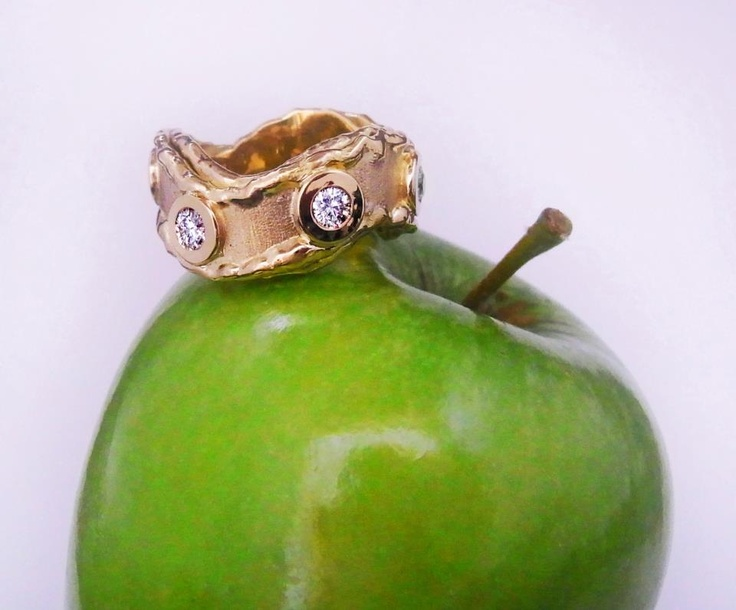 Bite the bullet....oh no!... the apple if it has an attachment like this 18ct one of a kind gold ring attached to it. Make an appointment during the week or walk in on Saturdays from 10 to 3 to try it on....