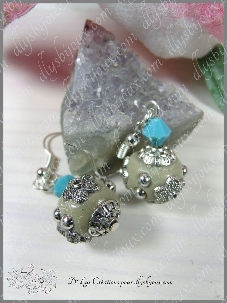 #boucles de #créateur #perles en #argile #façon #indonésie #cristal #swarovski #turquoise #crochets #argenté sans #nickel