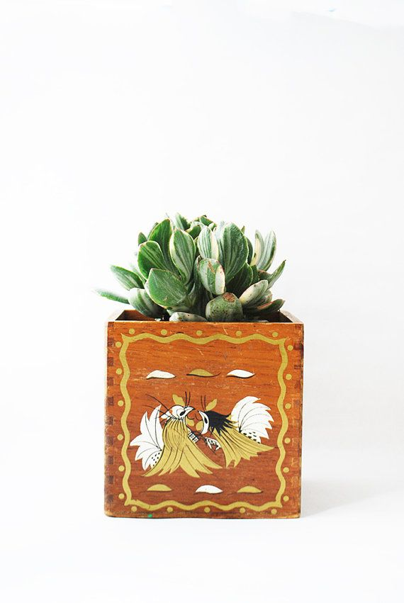 Vintage Hand Painted Asian Box  Wooden Box Planter by copperseal, $12.00