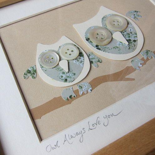 Owl Wall Art. Framed. Wedding Present.