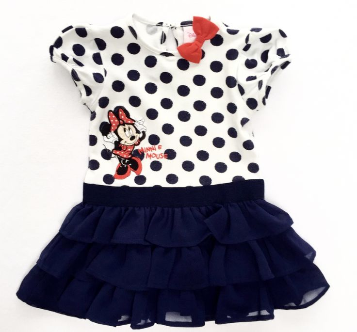 £4.99 - This Minnie Mouse blue and white polka dot dress by Disney is very cute The dress has a red bow and Minnie design on the top and a