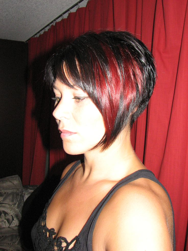 Black and red hair short with bangs Hair Pinterest
