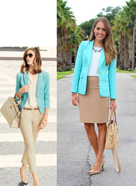 A mint blazer with beige skirt or trousers #tres_jolie Today's Everyday Fashion