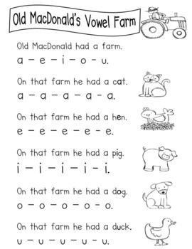 Old MacDonald Short Vowel Emergent Reader so cute! Love it... If I ever teach kindergarten or I'll teach it to MY babies!