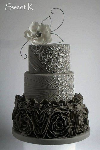 This ruffle cake was designed after a dress with the first and second tiers made…
