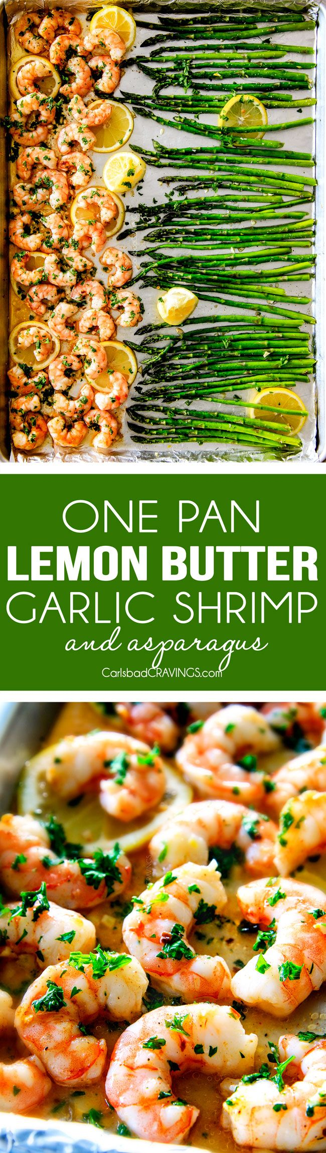 One Pan Roasted Lemon Butter Garlic Shrimp and asparagus