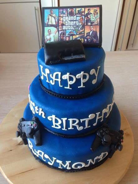 Playstation Taart met GTA thema. GTA Themed Playstation Cake.