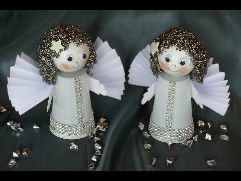 Engel / angel basteln aus Plastikbechern, Flügel aus Papier falten - YouTube