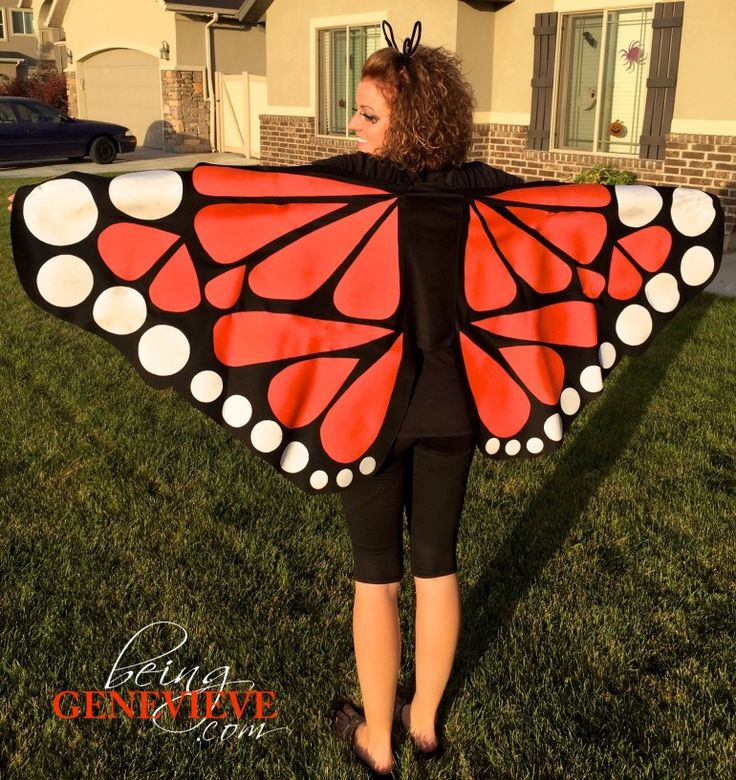 Butterfly Costume | BeingGenevieve.com These DIY giant-size butterfly wings are a very fast and easy halloween costume to quickly put together. Free tutorial and free pattern included.