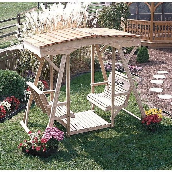 Amish Pine Cutout Heart Style Double Lawn Glider With Roof