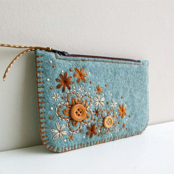 Wool Felt Coin Purse // Hand Embroidered // by LoftFullOfGoodies