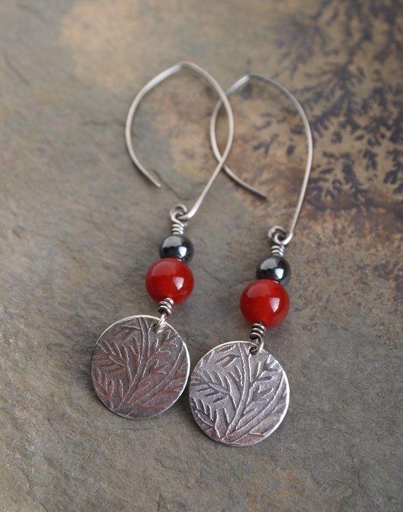 Silver earrings, handmade earrings, Aventurine earrings, dangly earrings, gift for her, embossed silver, artisan jewelry on Etsy, $42.10