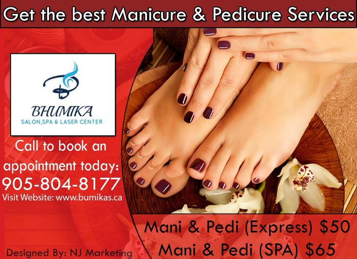 Manicure & Pedicure Services Are Available At Bhumika salon - Salon, Spa & Laser Center in Mississauga Call For Appoinment : 905-804-8177 http://www.bhumikas.ca/#!manicure-and-pedicure/el2v9