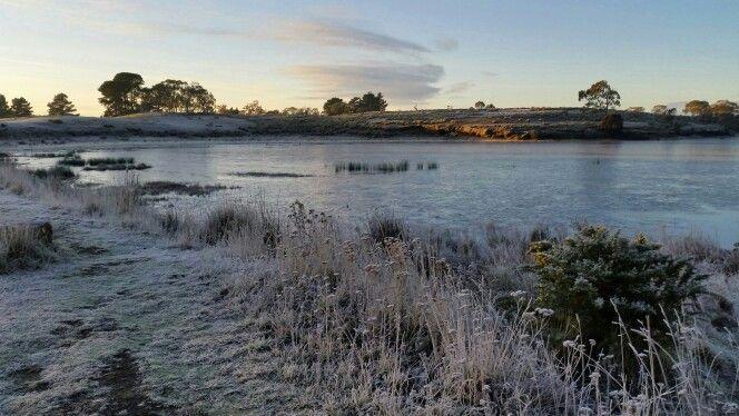 Frozen lake Dulverton Oatlands Tasmania