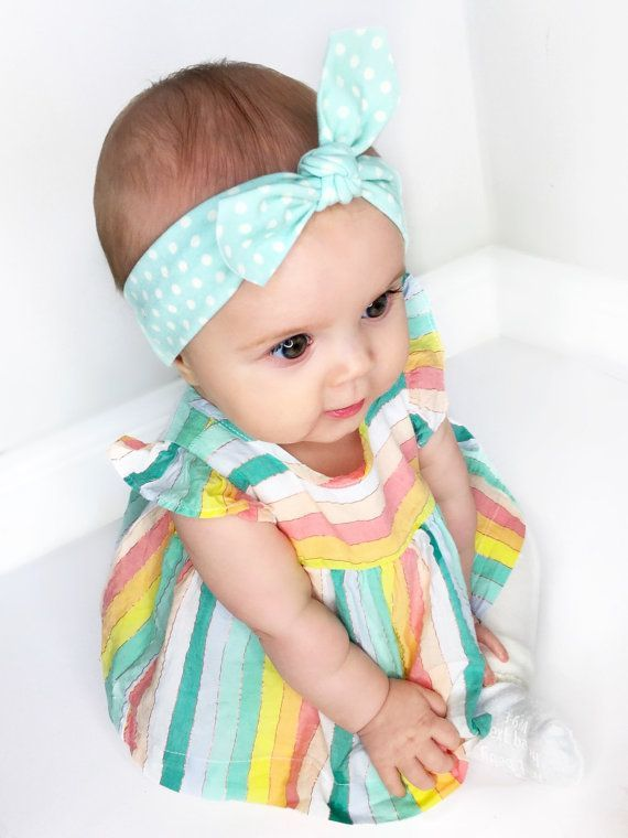 Baby Outfit of the Day - We paired our Little Daisy Dot 'Dukegg Blue Polkadot Baby Headband' with this adorable trapeze top and cream leggings both from Baby Gap