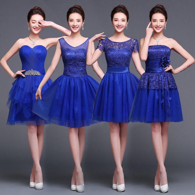 Vestido De manga curta Vestidos De casamento 2015 New curto Formal Vestidos De Festa azul Royal Maxi