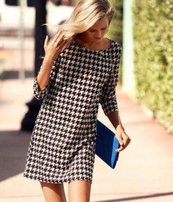 Football season dress: Fashion, Style, Clothes, Shift Dresses, Houndstooth Shift, H M Dress, Black, Houndstooth Dress