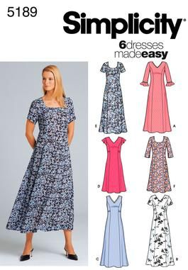 Simplicity Dress Pattern 5189 - View A, B, C or E (longer styles) - 4 1/2 to 4 7/8 yards of material (depending on sleeve length). Pullover dress - only notion needed is thread to match fabric. (using measurements for size 18)