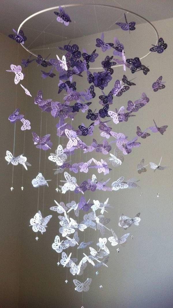 Wonderful DIY Pretty Butterfly Chandelier Mobile