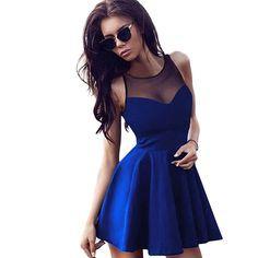 Women Sleeveless Slim Pleated Dress, skater dress, blue dress, summer outfits, dress for teens, popular