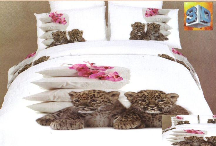 Bílé bavlněné ložní povlečení s malými leopardy