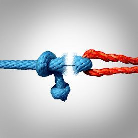 pic of symbols - Detached concept and disconnected symbol as two different ropes tied and linked together as a breaking chain and losing trust or faith metaphor as separation and divorce or broken severed relationship - JPG
