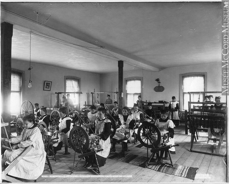 weaving class   Roberval Convent   Lake St. John, Québec, Canada   c. 1906   Wm. Notman & Son: photographer