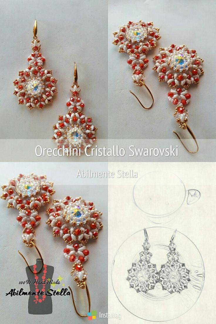 #Orecchini #Swarovski elements #100%Hand Made #Abilmente Stella #con il cuore