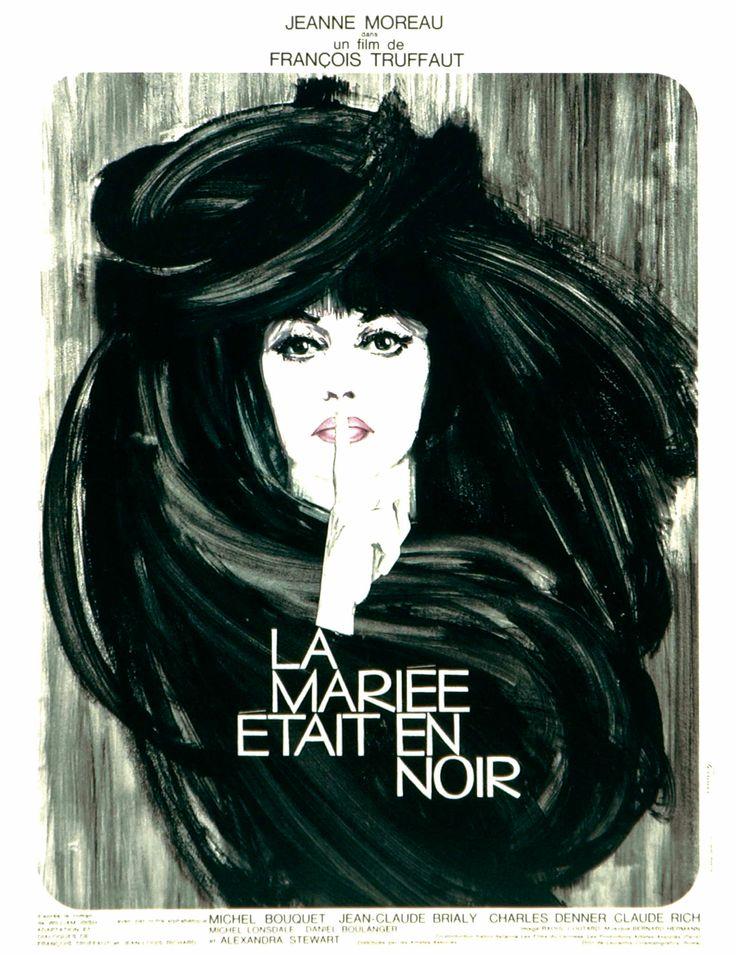 Poster by René Ferracci, 1968. La Mariée Etait en Noir (The Bride Wore Black), dir. François Truffaut.