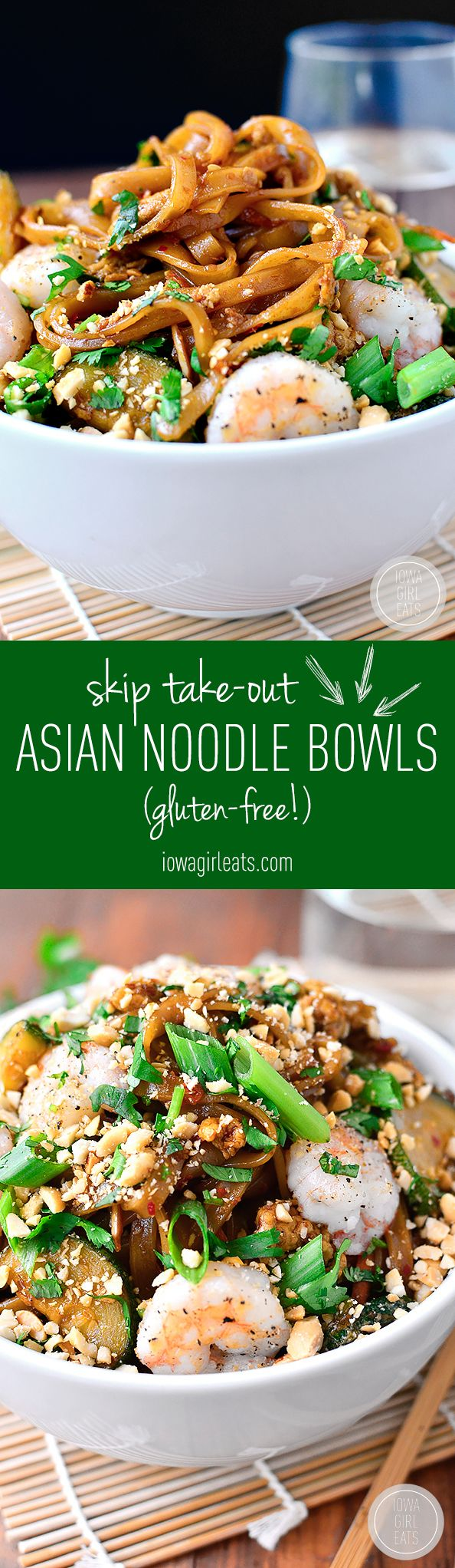 Asian Noodle Bowls are gluten-free, quick, tasty and will satisfy your craving for takeout in 30 minutes or less!   iowagirleats.com