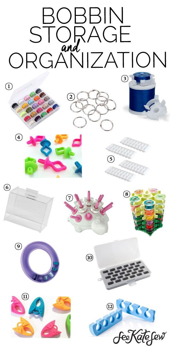 Bobbin Storage and Organization Ideas   sewing organization tips   sewing tips and tricks   organizing your sewing space   how to organize sewing bobbins    See Kate Sew #organization #sewingtips #sewingorganization