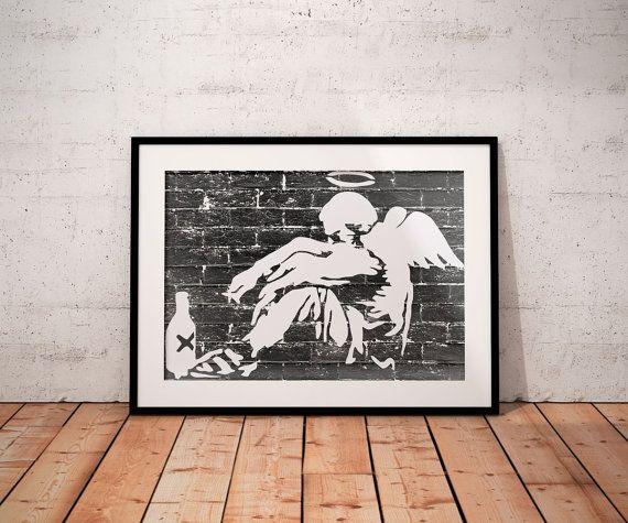 Banksy drunken angel poster  print banksy poster by BelugaStore