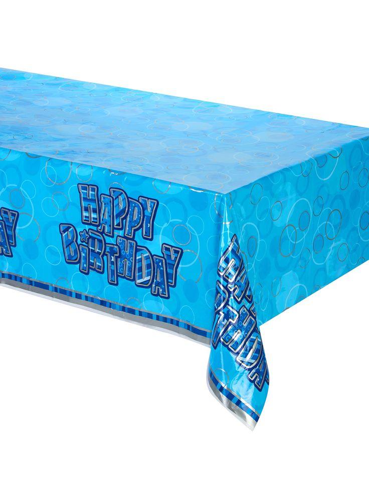 """Mantel plegado plástico Happy Birthday azul: Este mantel es de plástico.Es azul con la inscripción """"Happy Birthday"""" en el centro.El mantel mide aproximadamente 137x213 cm aproximadamente.Es perfecto para un..."""