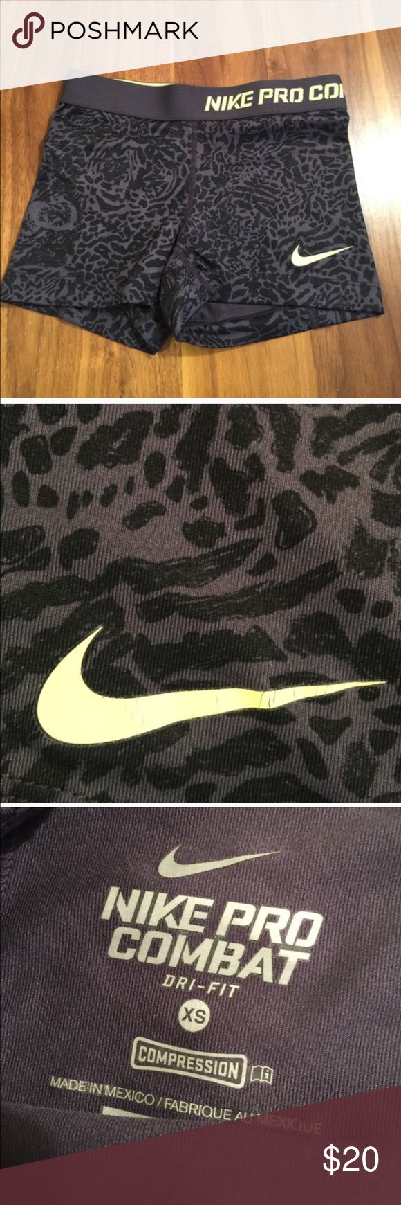 Nike Pro Combat Compression Shorts Black print compression shorts. Logo has slight cracking. Nike Shorts
