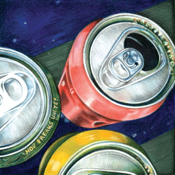 Drawing of Brightly Colored Cans - Giclee Print of Original Art
