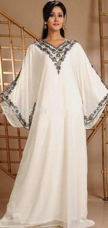 2015 Dubai Kaftan Abaya Flowing Beaded Crystal Bell Sleeve White Chiffon